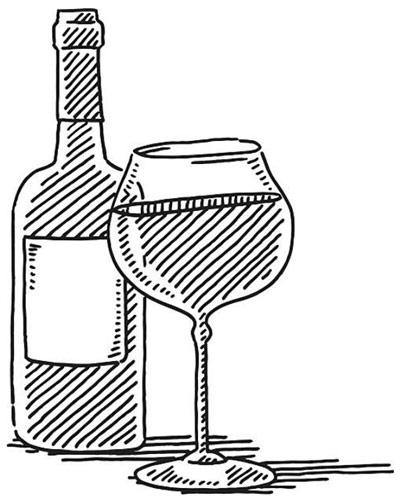 Zeichnung mit Weinflasche und Weinglas